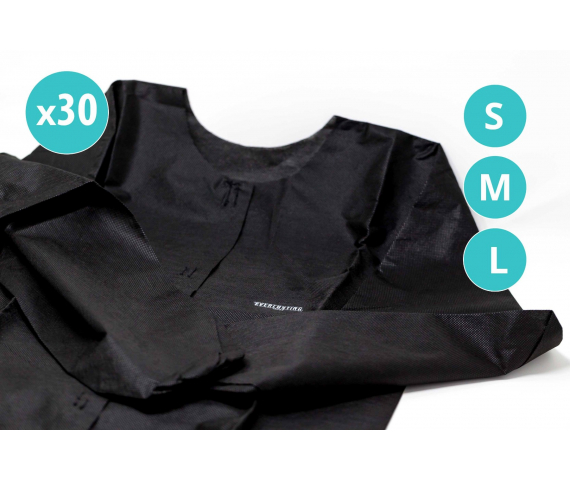 30 x Black disposable medical coats with Everlasting branding